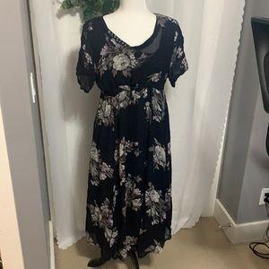 Vintage Double layered Floral Print Dress Size 20